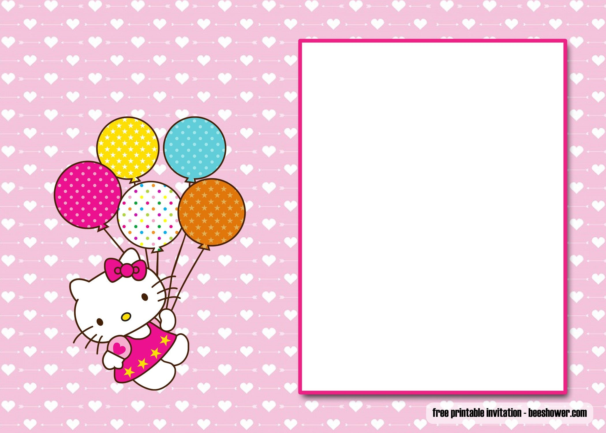 Awesome Free Perfect Hello Kitty Baby Shower Invitations | Beeshower - Free Printable Hello Kitty Baby Shower Invitations