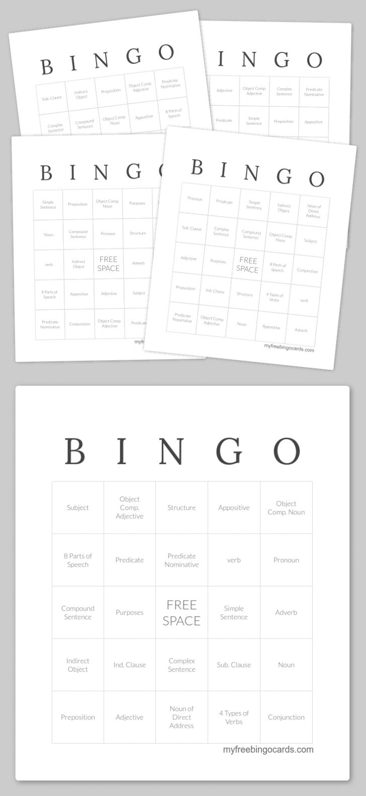 Free Printable Parts Of Speech Bingo