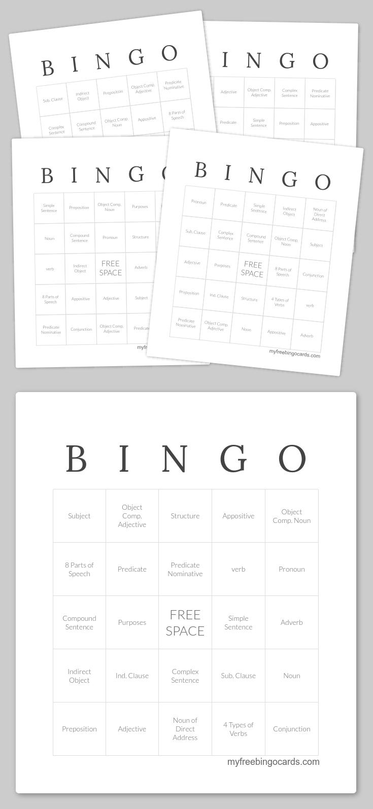 B I N G O Bingo | Classical Conversations | Bingo, Bingo Cards, Free - Free Printable Parts Of Speech Bingo