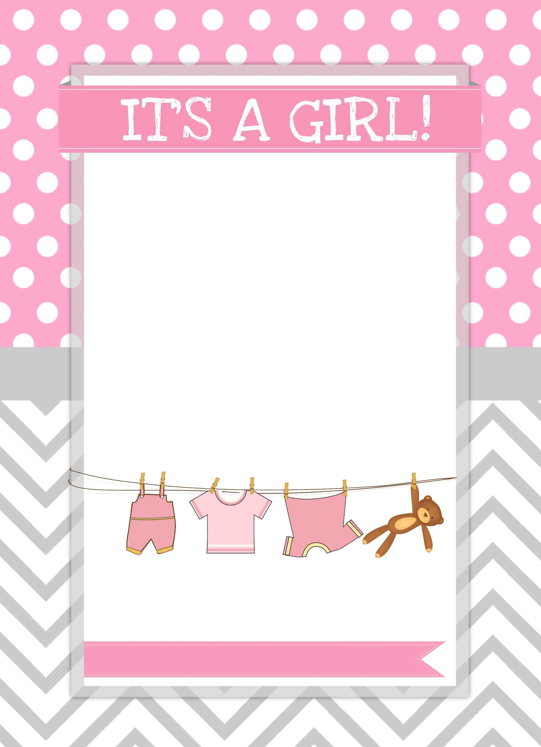 Baby Girl Shower Free Printables | Free Printables | Ideias Para - Free Printable Blank Baby Shower Invitations