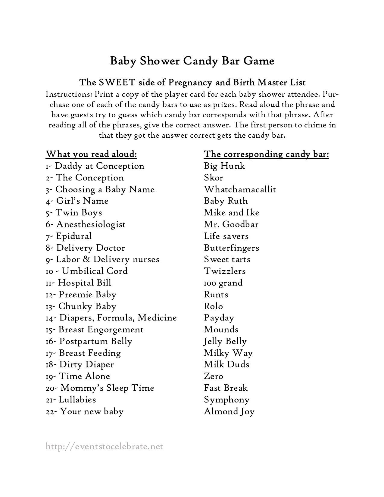 Baby Shower Games | Baby Shower | Baby Shower Games, Baby Shower - Candy Bar Baby Shower Game Free Printable