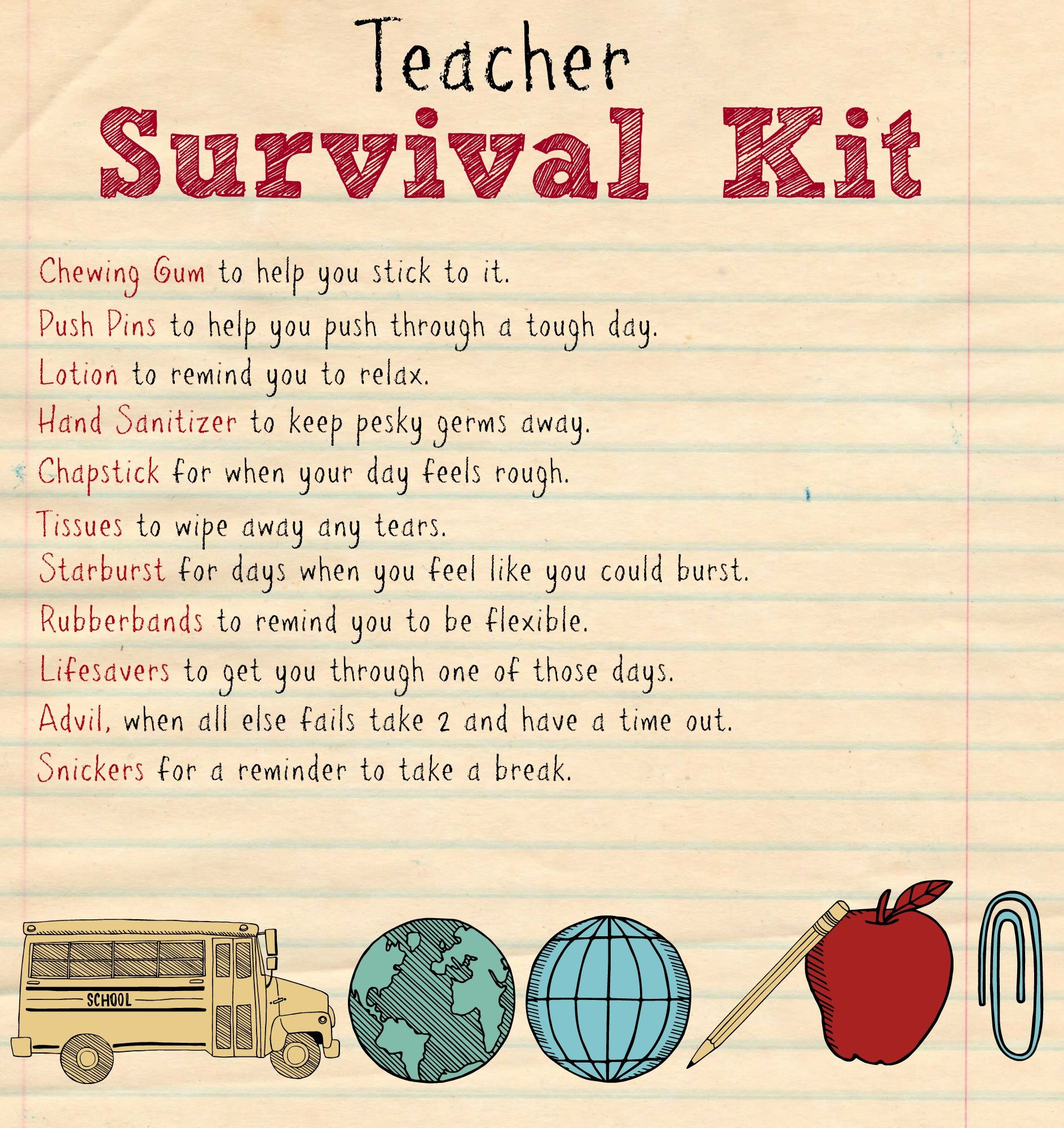 Back To School Teacher Supply Kit - Houston Mommy And Lifestyle - Teacher Survival Kit Free Printable