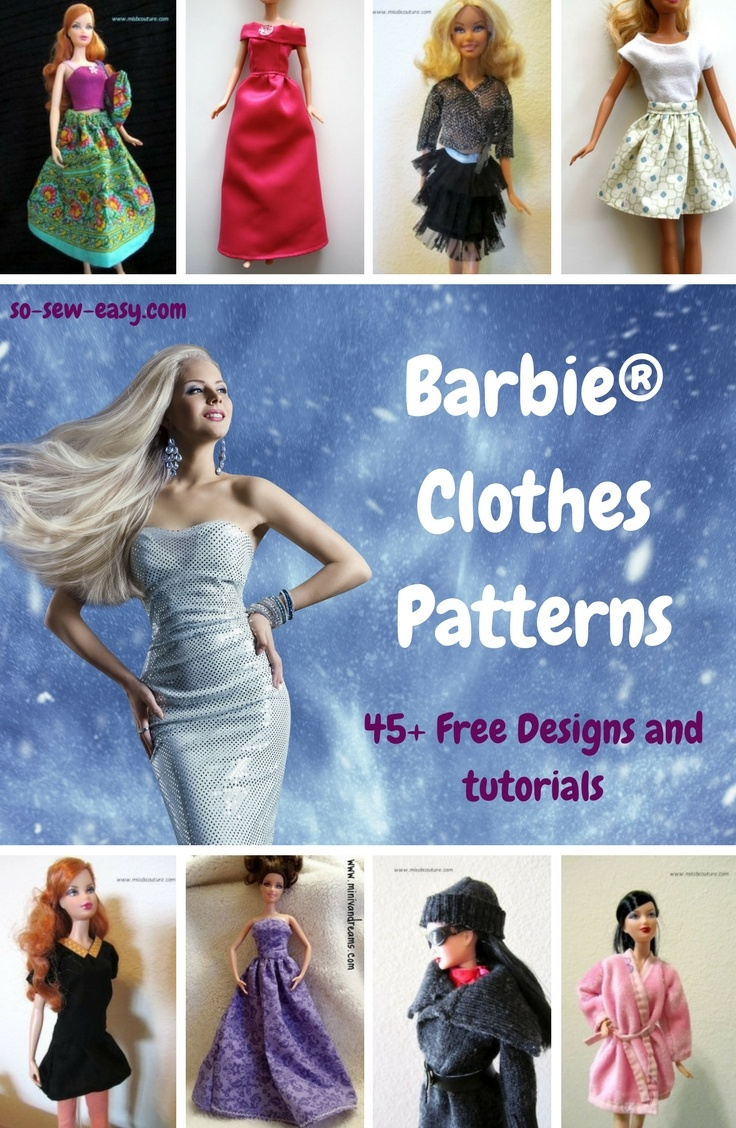 Barbie Clothes Patterns: 45+ Free Designs & Tutorials - So Sew Easy - Easy Barbie Clothes Patterns Free Printable