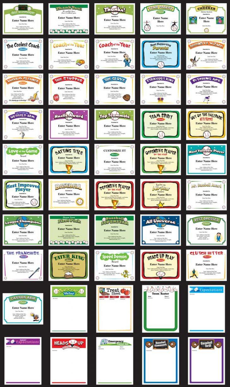 Free Printable Baseball Certificates