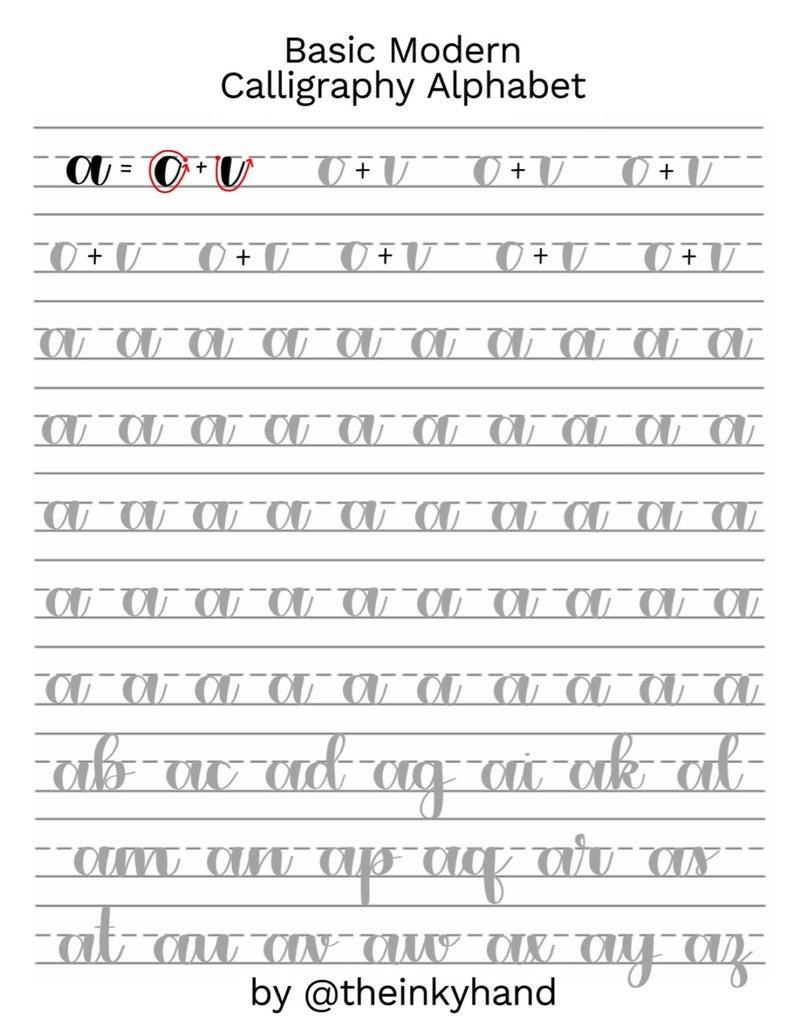 Basic Modern Calligraphy Practice Sheetstheinkyhand | Etsy - Modern Calligraphy Practice Sheets Printable Free