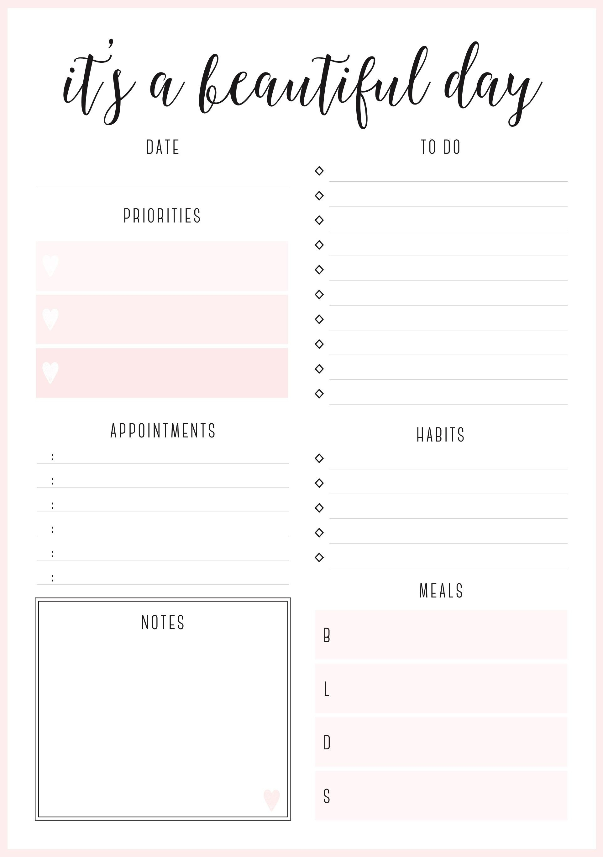Beautiful Daily Planners - Free Printables | Planner Pages - Free Printable Home Organizer Notebook