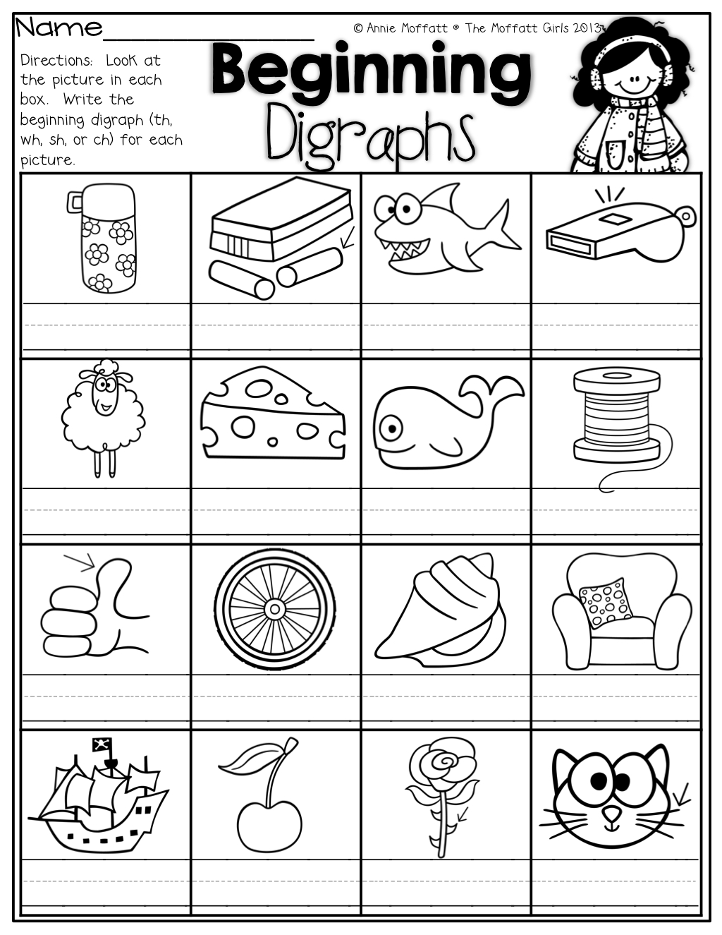 Beginning Digraphs! Write The Beginning Digraphs For Each Picture - Sh Worksheets Free Printable