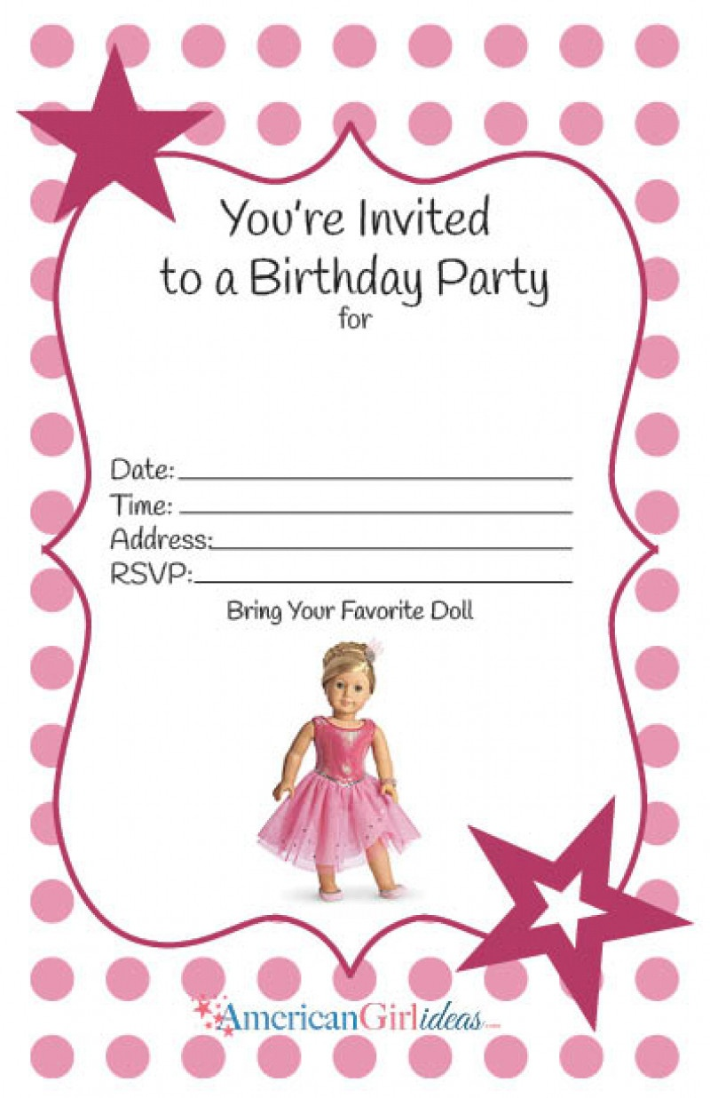 Best 20 Free Printable Birthday Invitations For Girl - Home - American Girl Party Invitations Free Printable