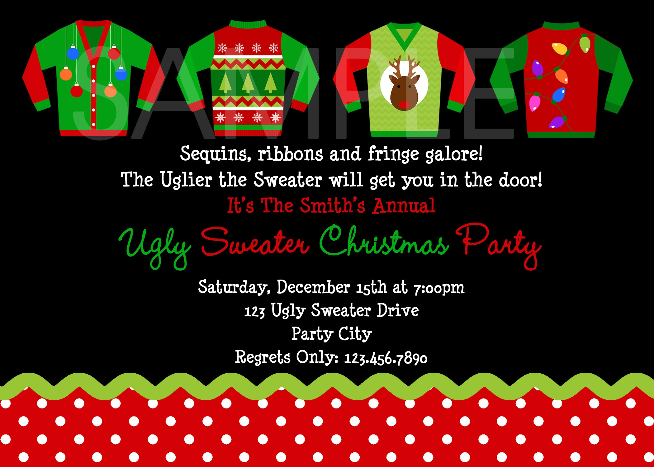 Best Of Ugly Sweater Party Invite For Idea Ugly Sweater Party - Free Printable Personalized Christmas Invitations