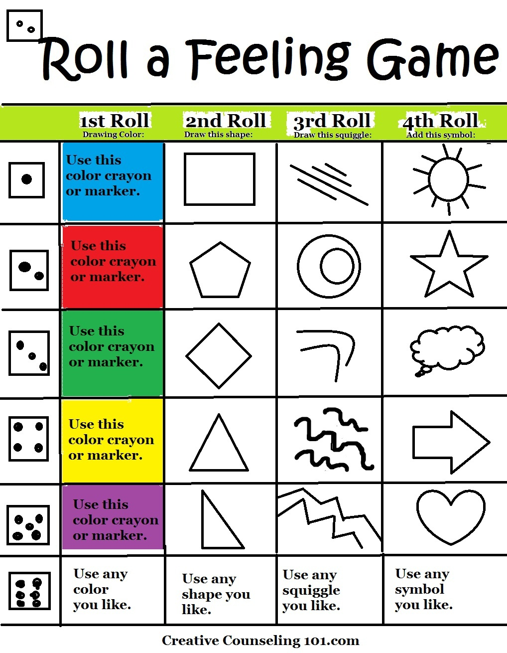 Beyond Art Therapy Roll-A-Feelings Game - Free Printable Therapy Worksheets