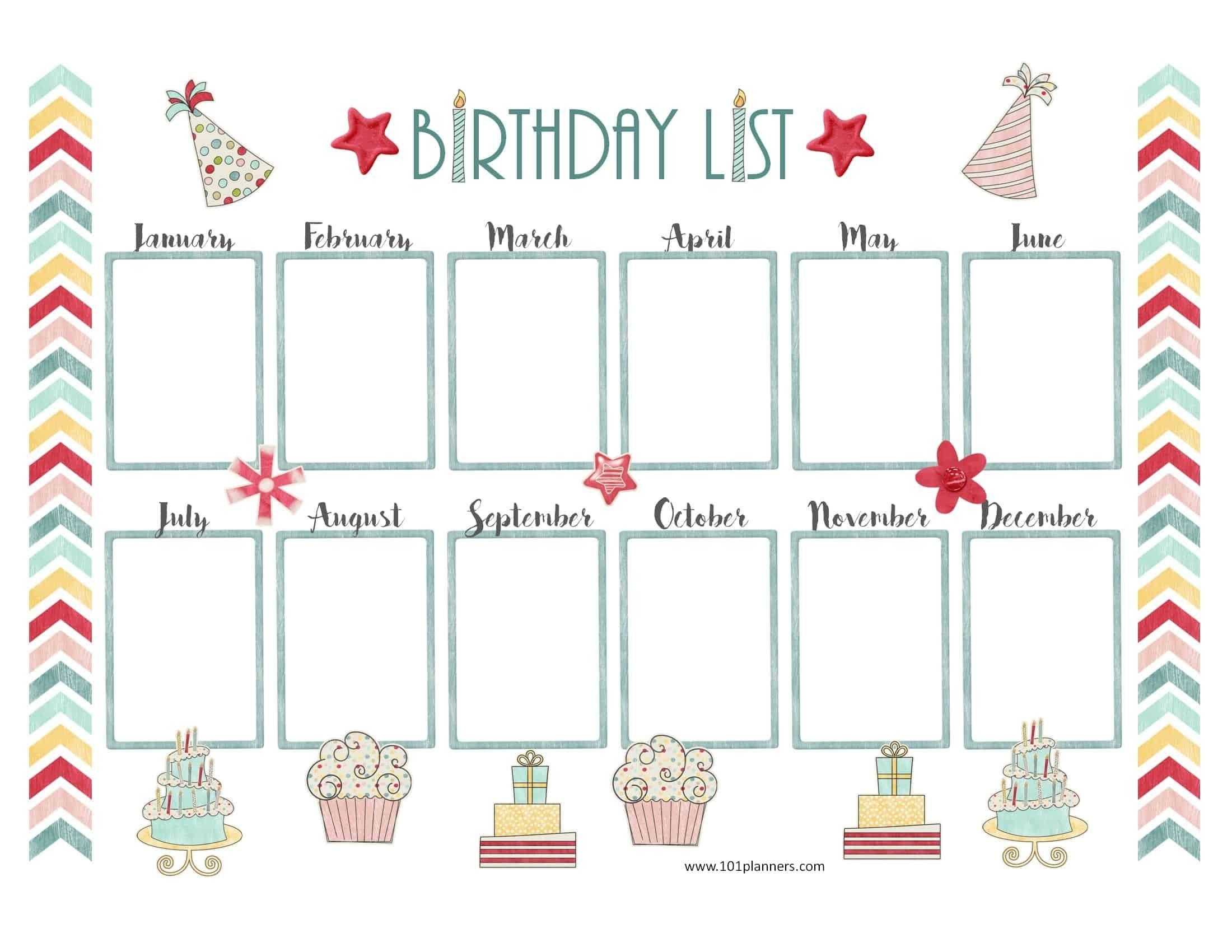 Birthday Charts Templates - Kaza.psstech.co - Free Printable Birthday Graph