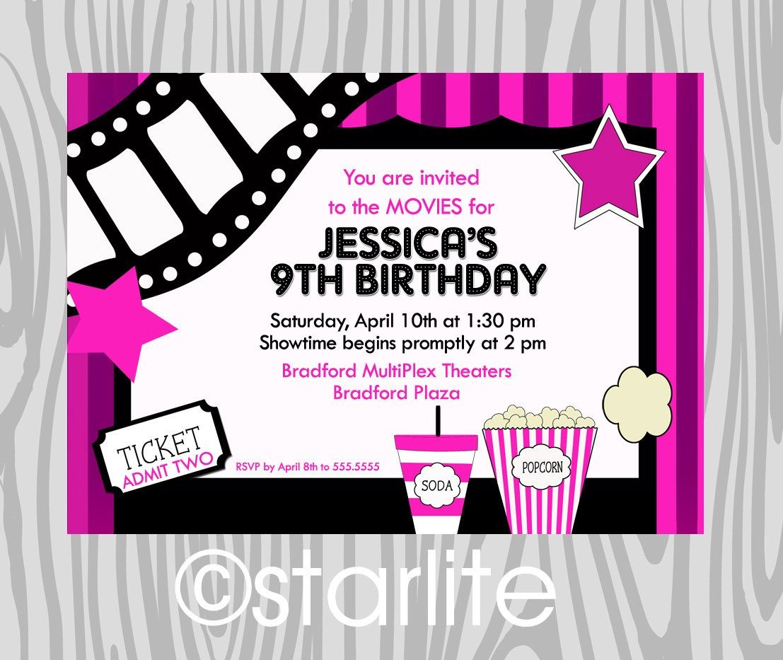 Birthday Party Invitation - Girls Hot Pink - Movie Theme - Night At - Free Printable Movie Themed Invitations