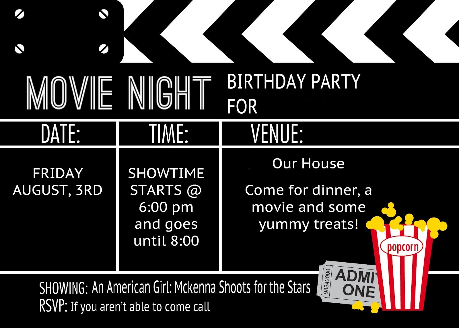 Birthday Party Invitation Templates Movie Theme | Kalli's 13Th - Movie Night Birthday Invitations Free Printable