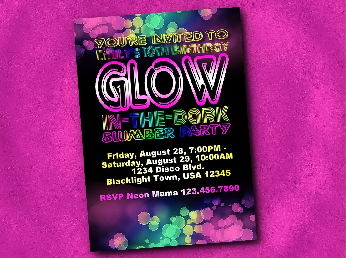 Blacklight Party Invitations - Free Printable Glow In The Dark Birthday Party Invitations
