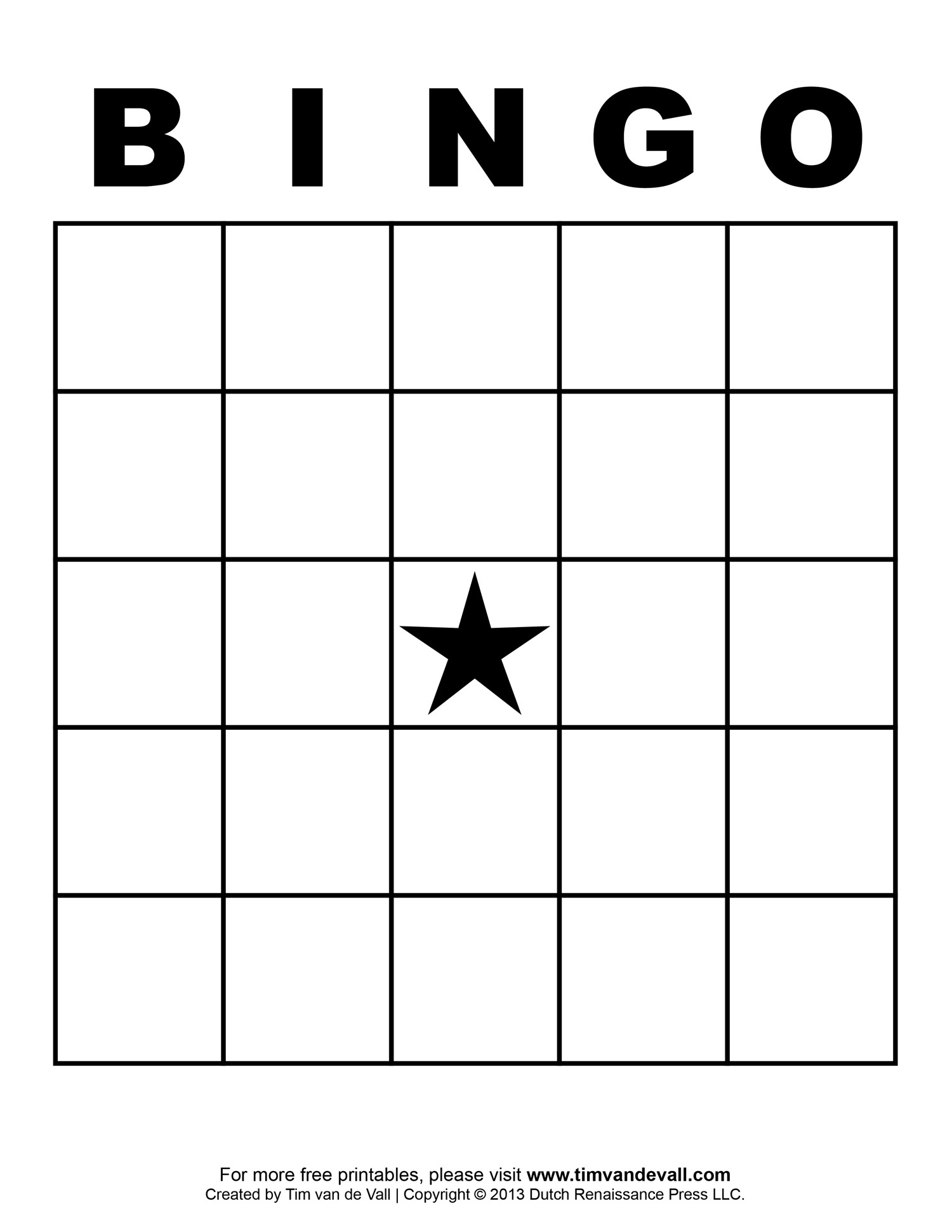 Blank Bingo Template - Tim's Printables - Free Printable Bingo Cards With Numbers