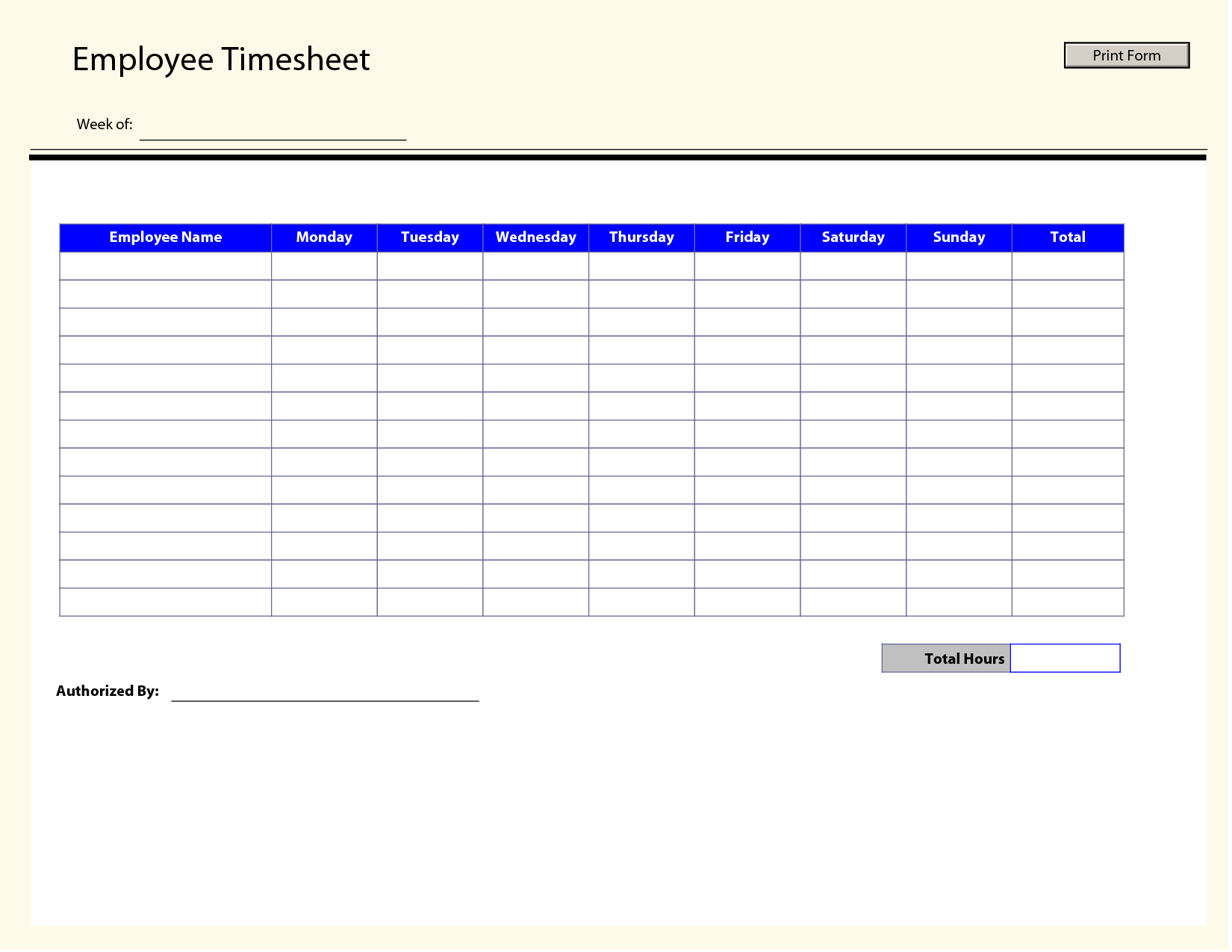 Blank Employee Timesheet Template | Management Templates | Timesheet - Free Printable Time Sheets Forms