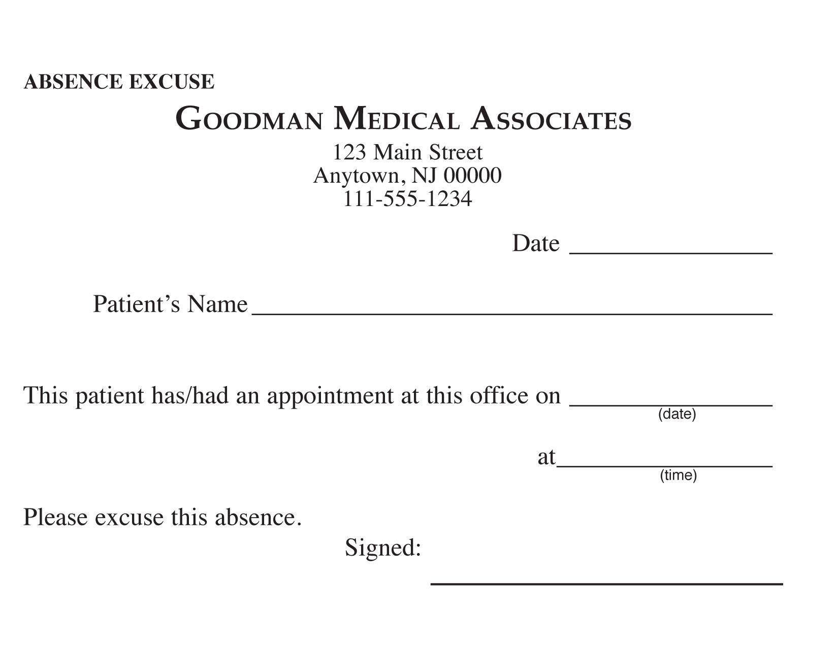 Blank Printable Doctor Excuse Form | Keskes Printing - Mds - Free Printable Doctor Excuse Notes