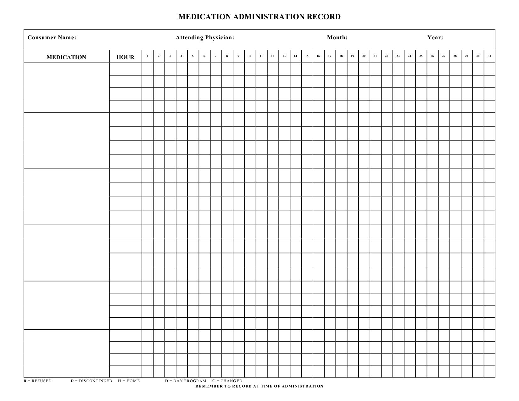 Blank+Medication+Administration+Record+Template | Work | Medication - Medication Chart Printable Free