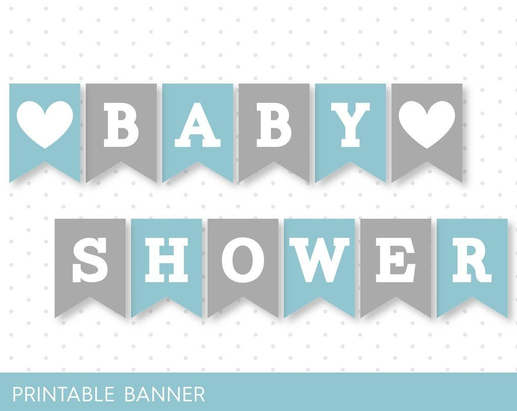 Blue Banner, Grey Banner, Oh Baby Banner, Oh Boy Banner, Printable - Free Printable Baby Shower Banner Letters