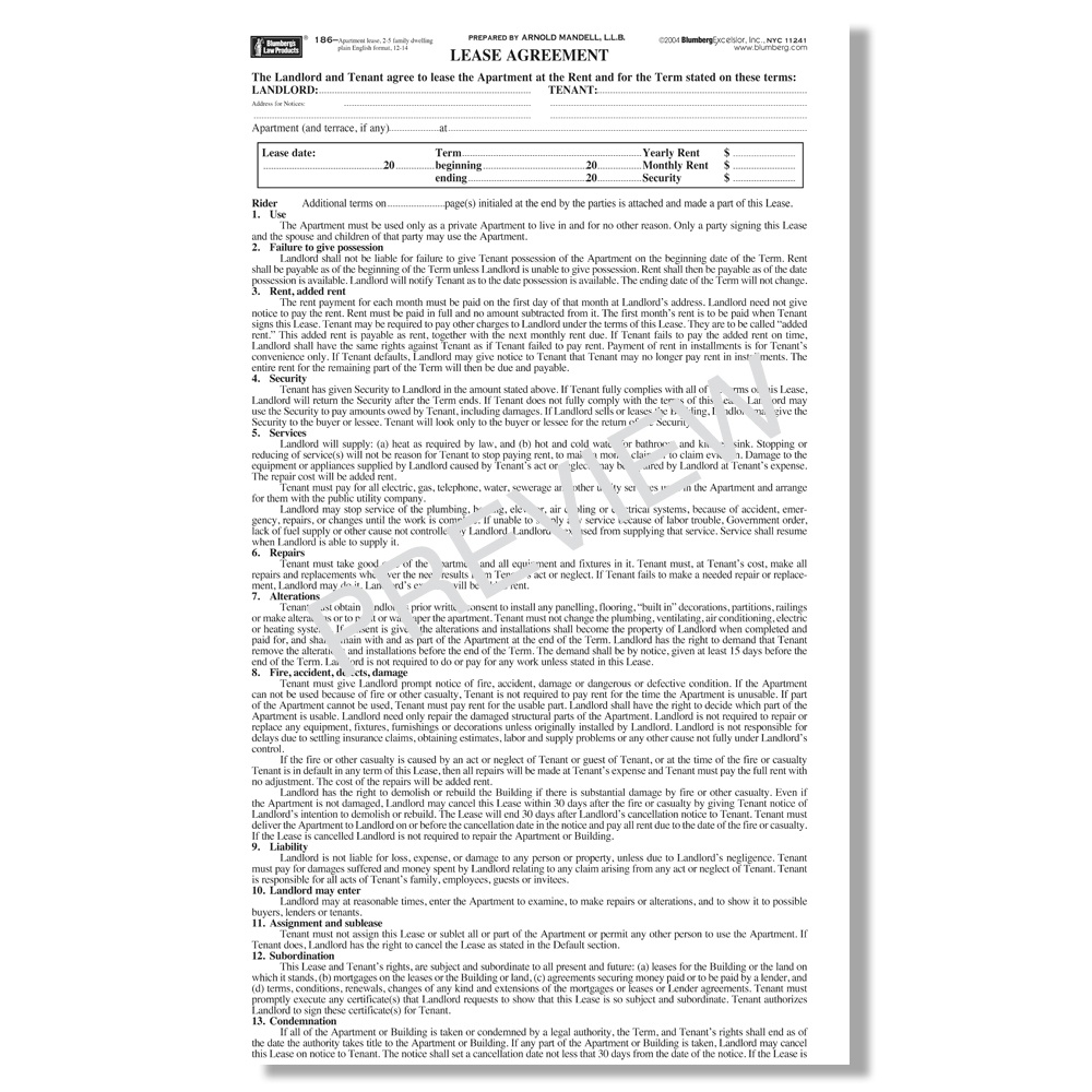 Blumberg Lease - New York Residential Lease Forms - Free Printable Lease Agreement Ny