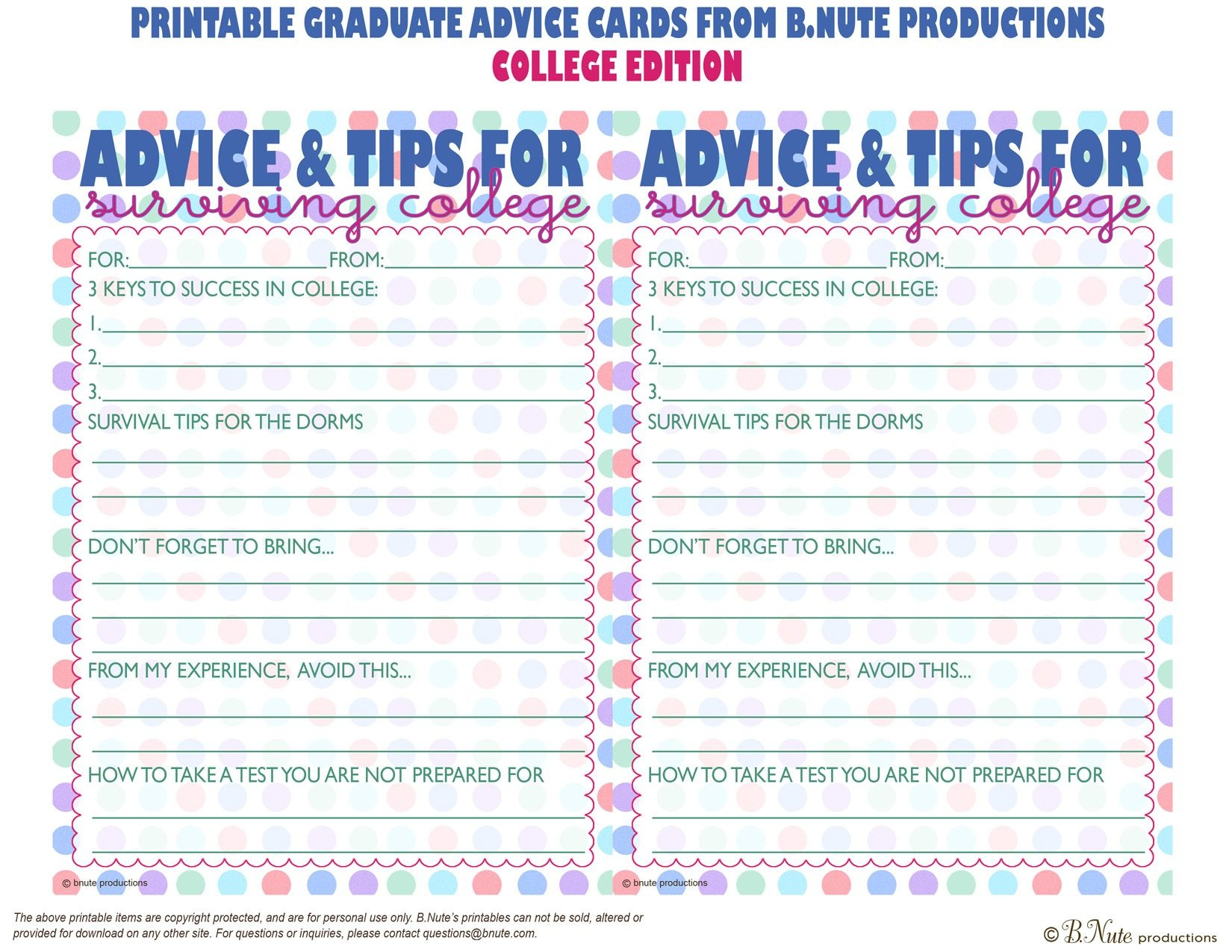 Bnute Productions: Free Printable Graduate Advice Cards - College - Free Printable Grade Cards