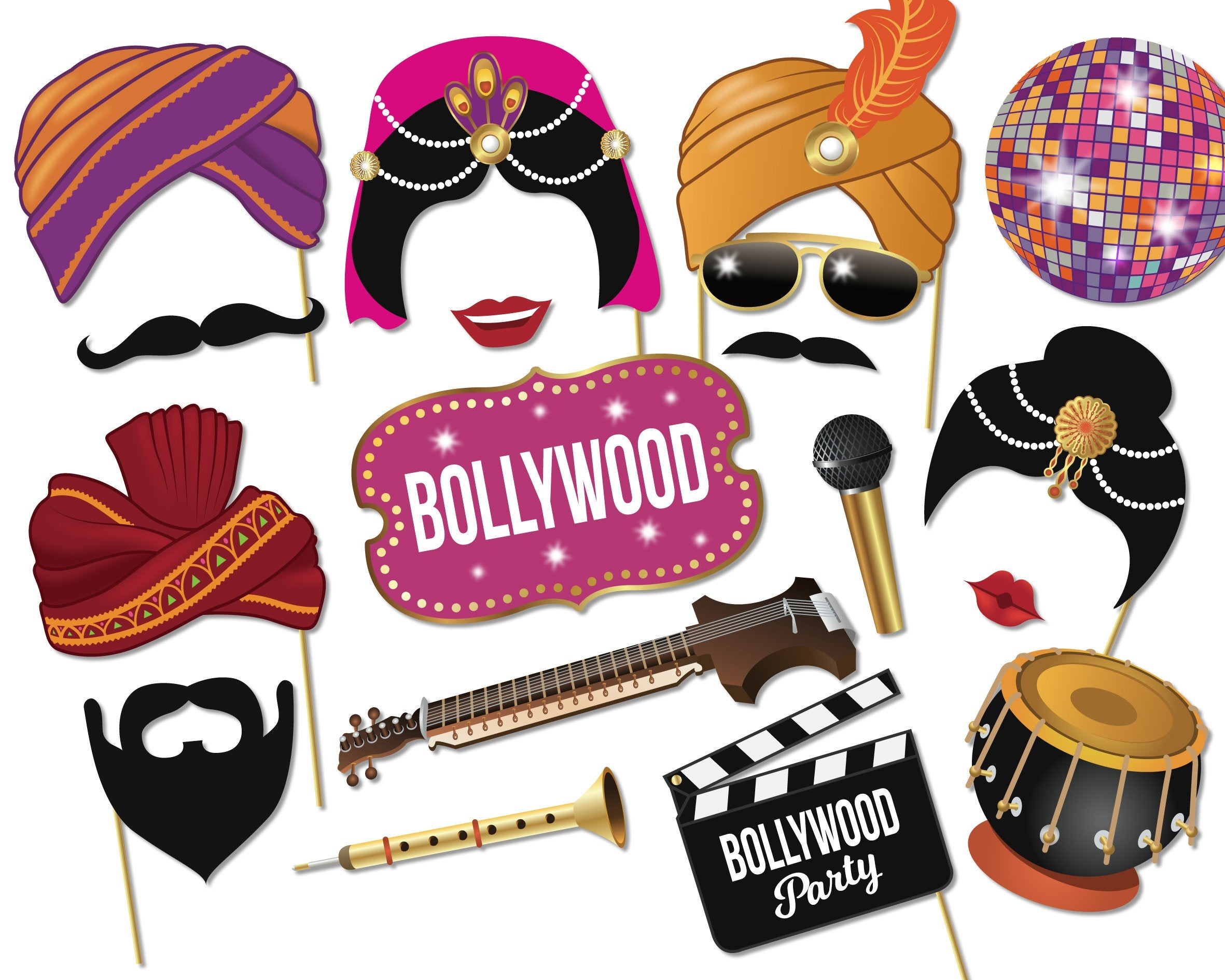Bollywood Party Printable Photo Booth Props Bollywood | Etsy - Free Printable 70's Photo Booth Props