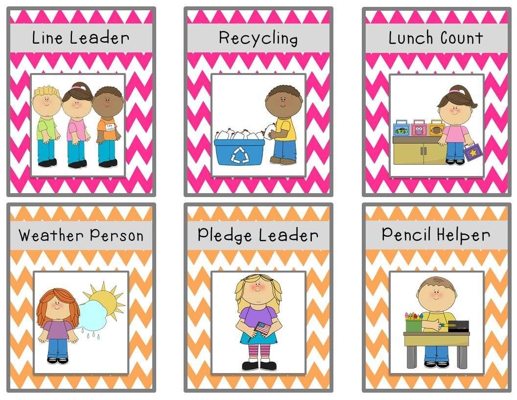Bright Chevron Job Chart Cards {Freebie} | Classroom Ideas - Preschool Classroom Helper Labels Free Printable