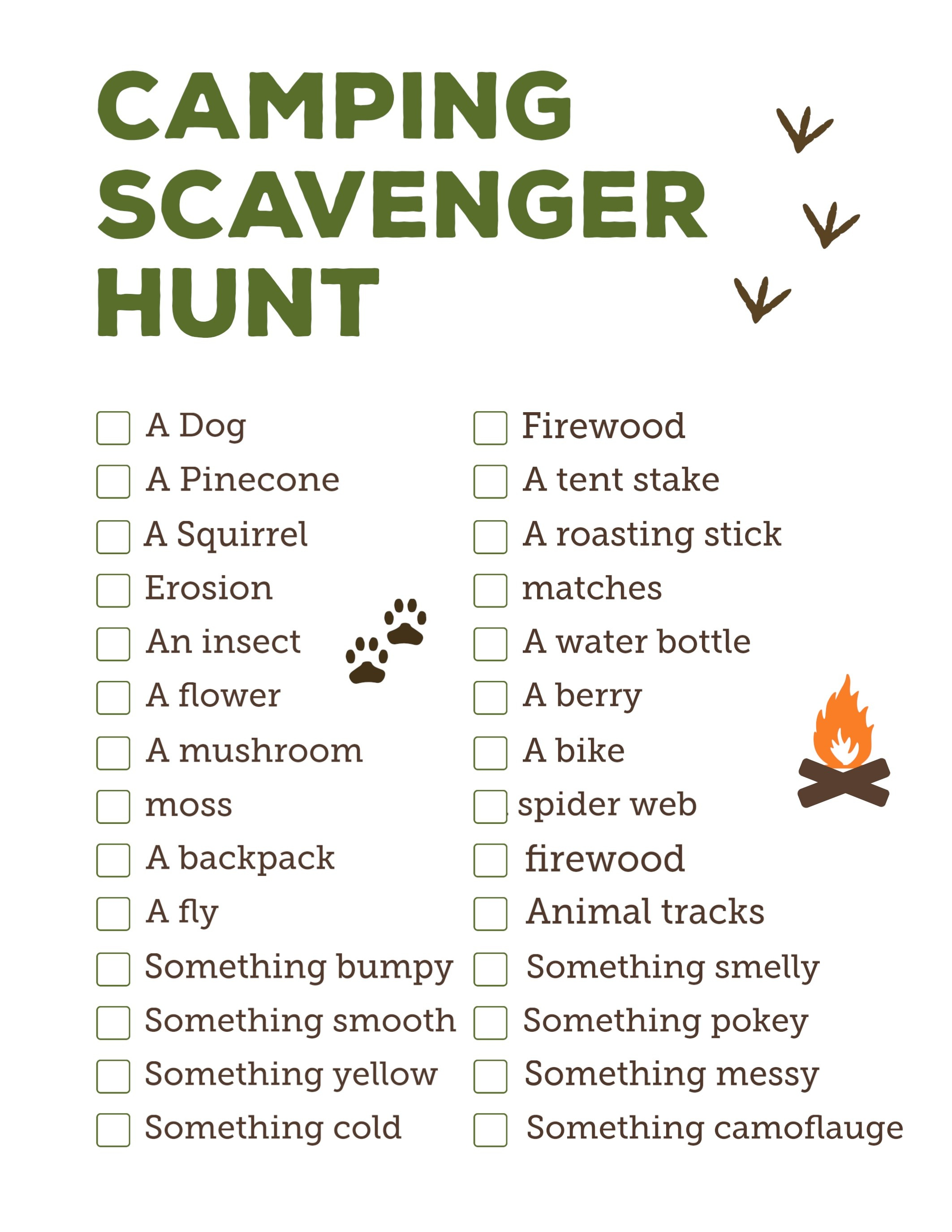 Camping Scavenger Hunt Printable - Paper Trail Design - Free Printable Scavenger Hunt For Kids