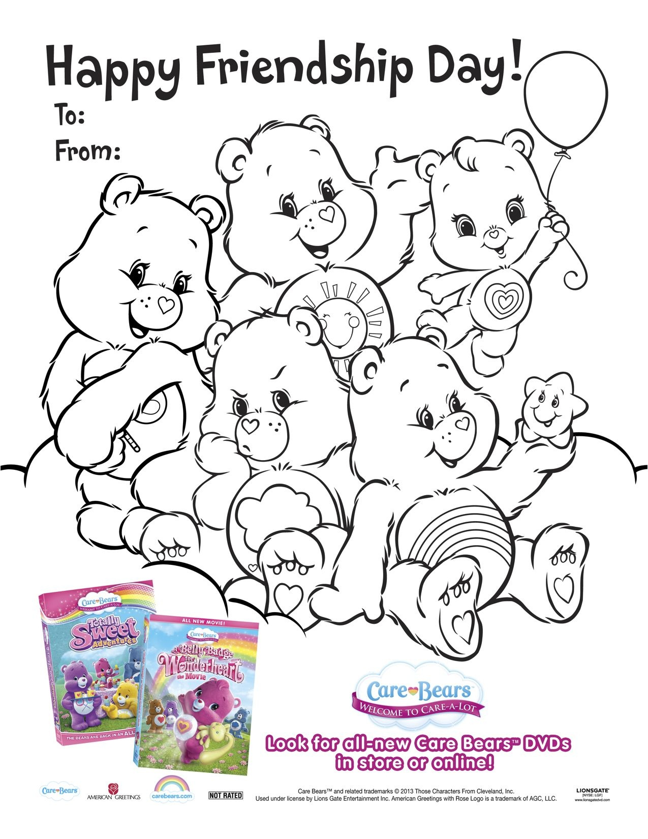 Care Bears Wonderheart Printable Friendship Day Coloring Page - Free Printable Bff Coloring Pages
