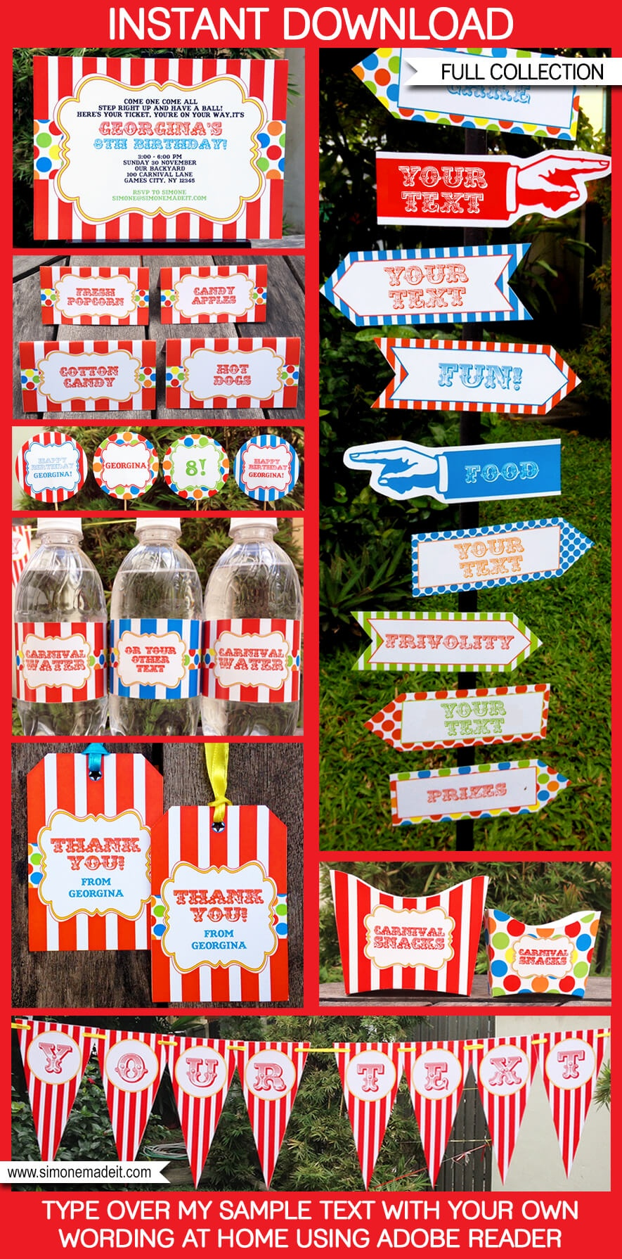 Carnival Party Printables | Circus Party Printables - Free Printable Carnival Decorations