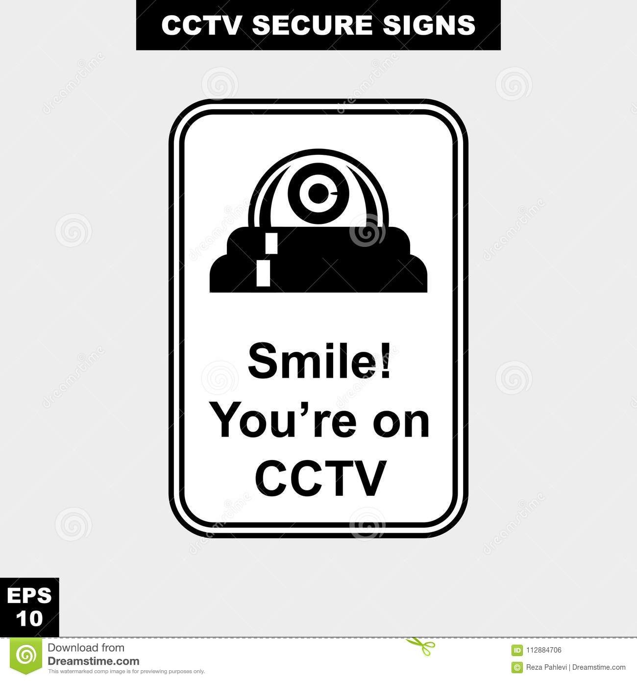 Cctv, Alarm, Monitored And 24 Hour Video Camera Sign In Vector Style - Printable Video Surveillance Signs Free