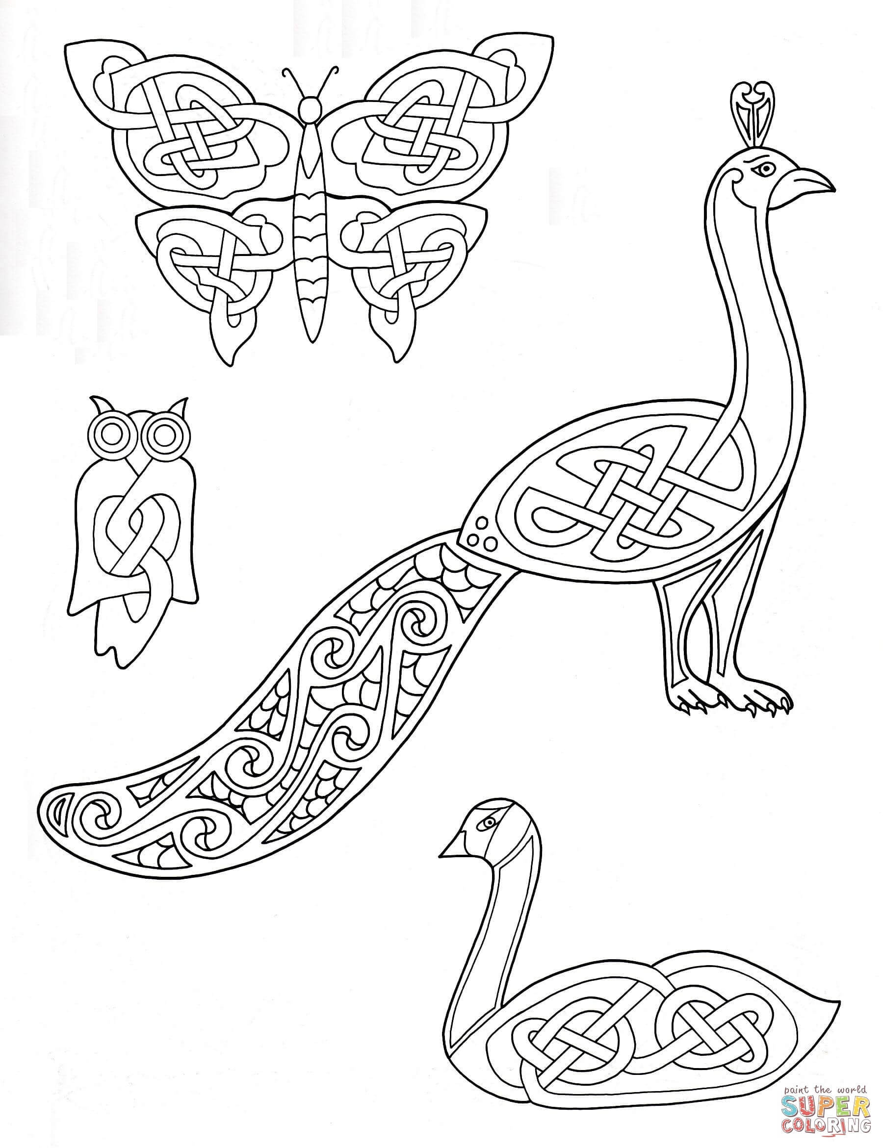 Celtic Animals Designs Coloring Page | Free Printable Coloring Pages - Free Printable Arty Animal Outlines