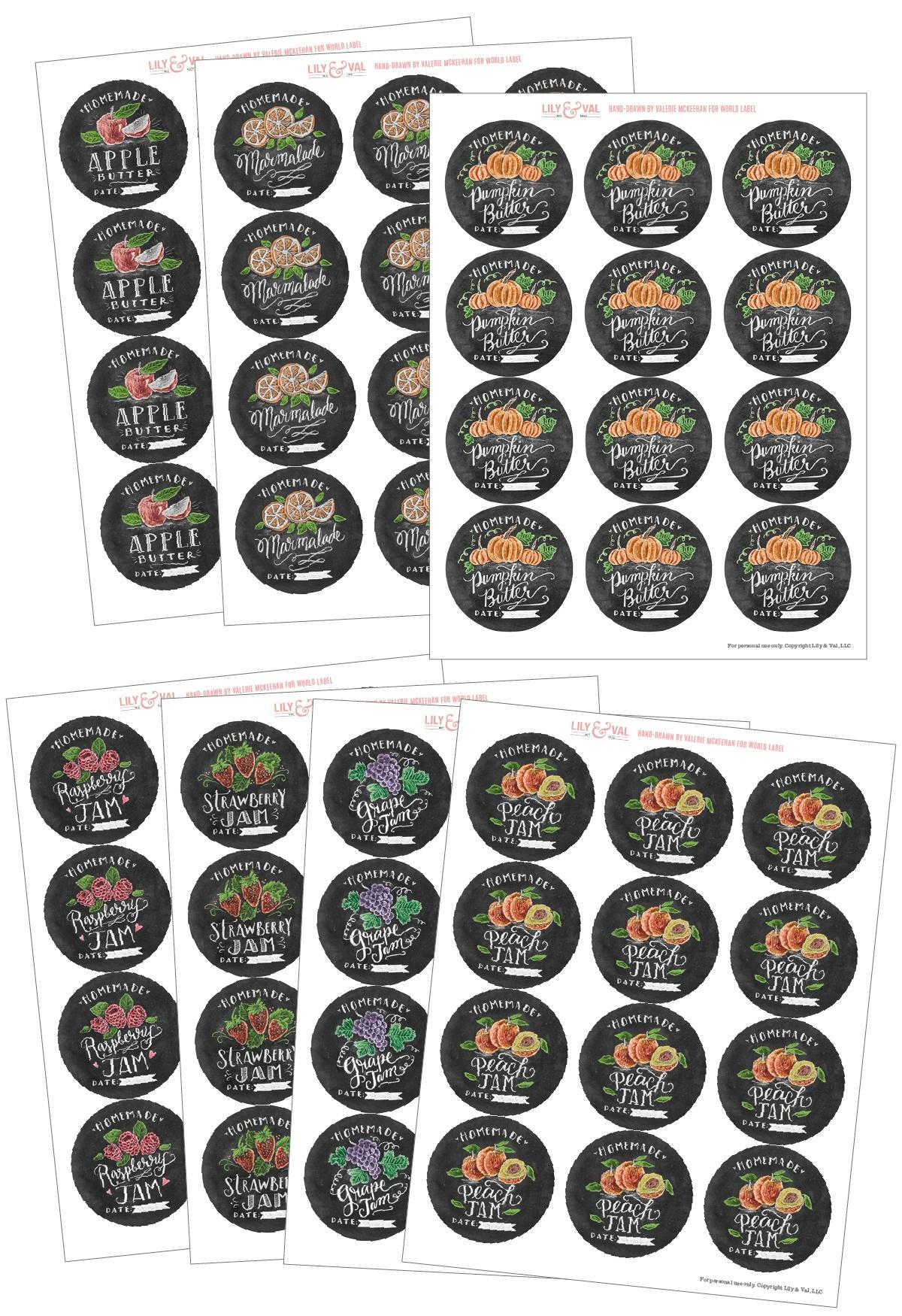 Chalk Art Jam Labels Hand-Drawnvalerie Mckeehan | Free Printable - Free Printable Jam Labels
