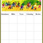 Childrens Gems In My Treasure Box: Sunday School   Attendance Charts   Sunday School Attendance Chart Free Printable