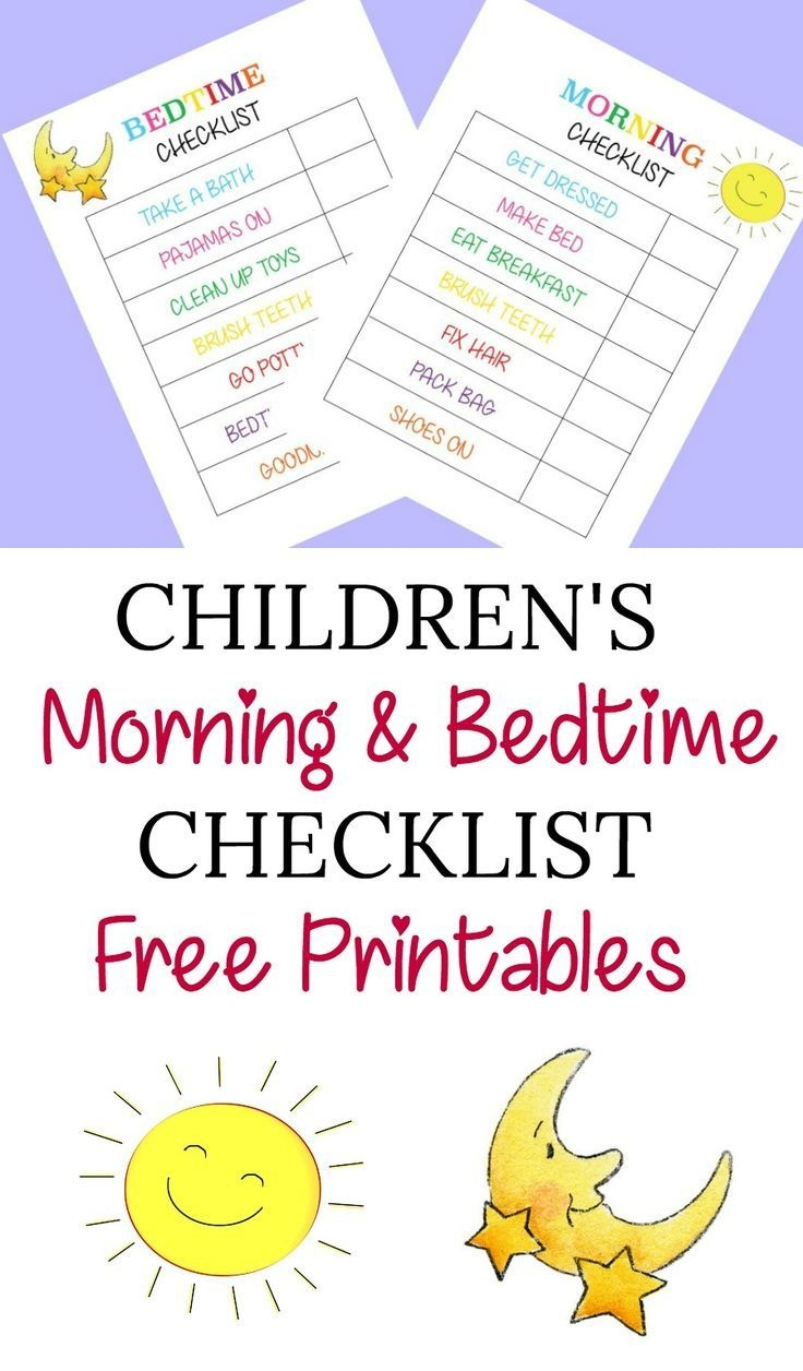 Children's Morning And Bedtime Checklist Free Printables | Planners - Children's Routine Charts Free Printable