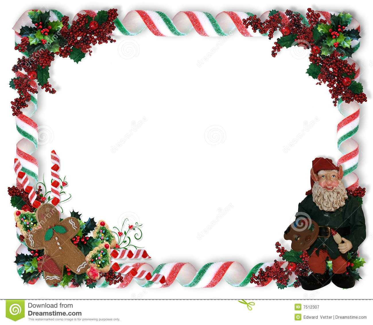 Christmas Border Candy And Elf Stock Illustration - Illustration Of - Free Printable Christmas Frames And Borders