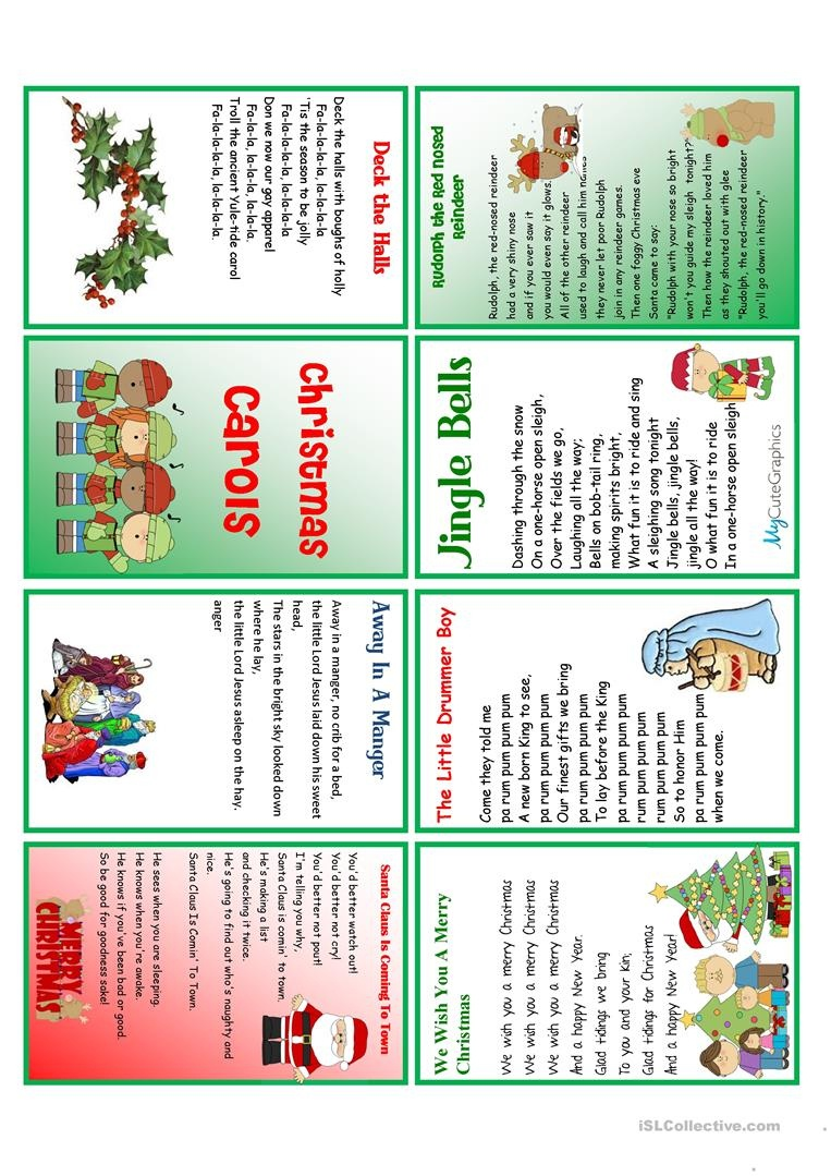 Christmas Carols Minibook Worksheet - Free Esl Printable Worksheets - Free Printable Christmas Carols Booklet