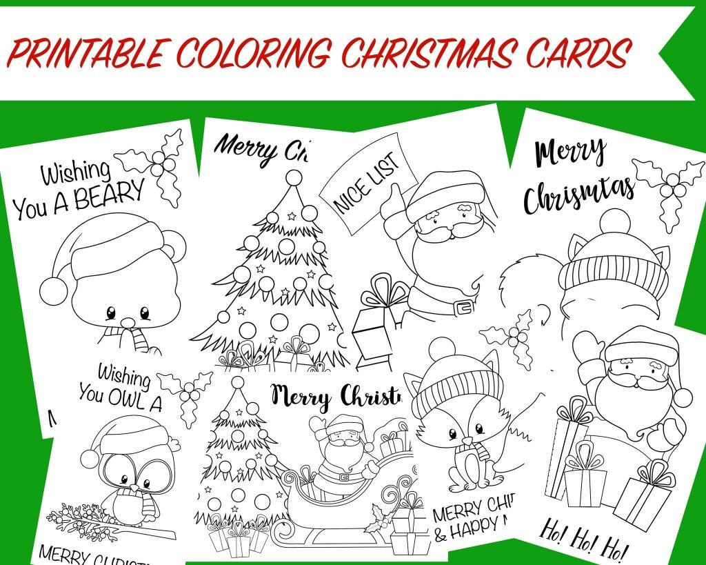 Christmas Coloring Cards - Free Printable Christmas Activity For Kids - Free Printable Cards To Color