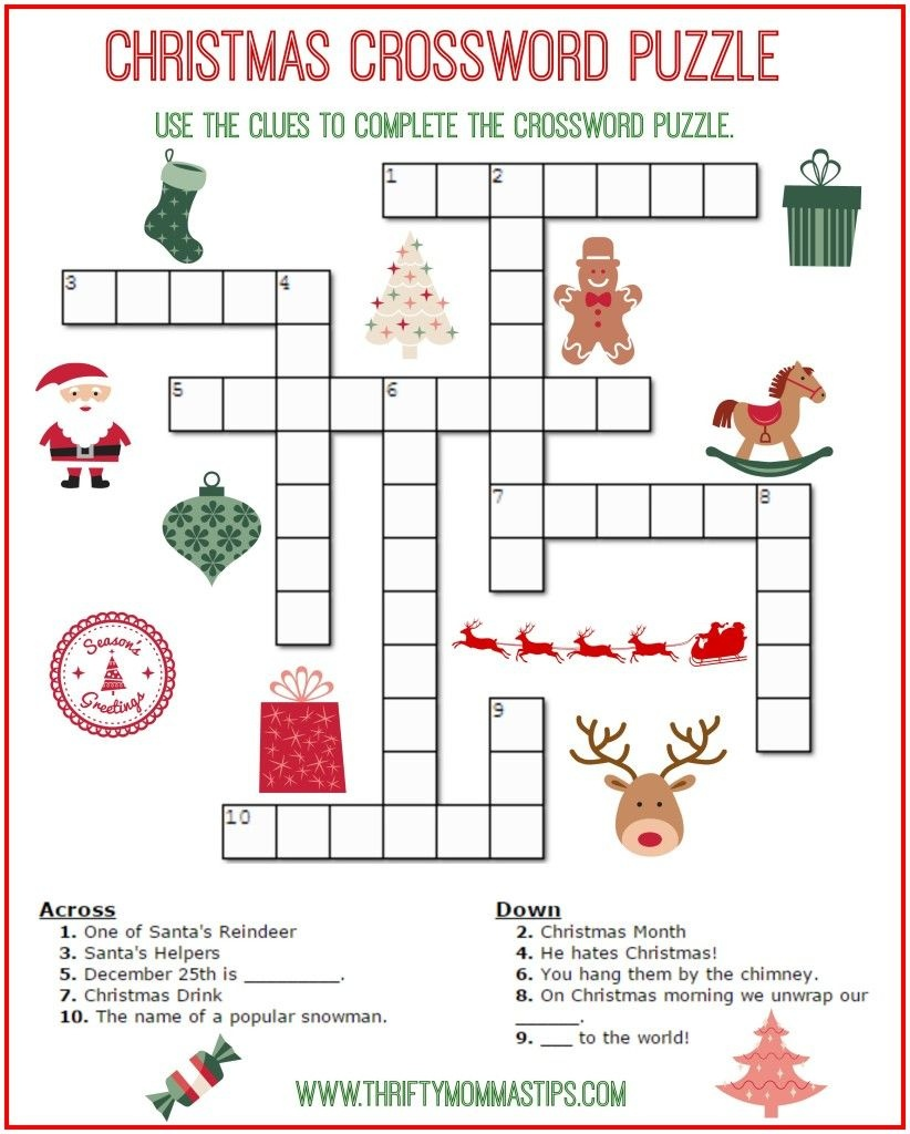 Christmas Crossword Puzzle Printable - Thrifty Momma's Tips | Free - Free Printable Christmas Puzzles