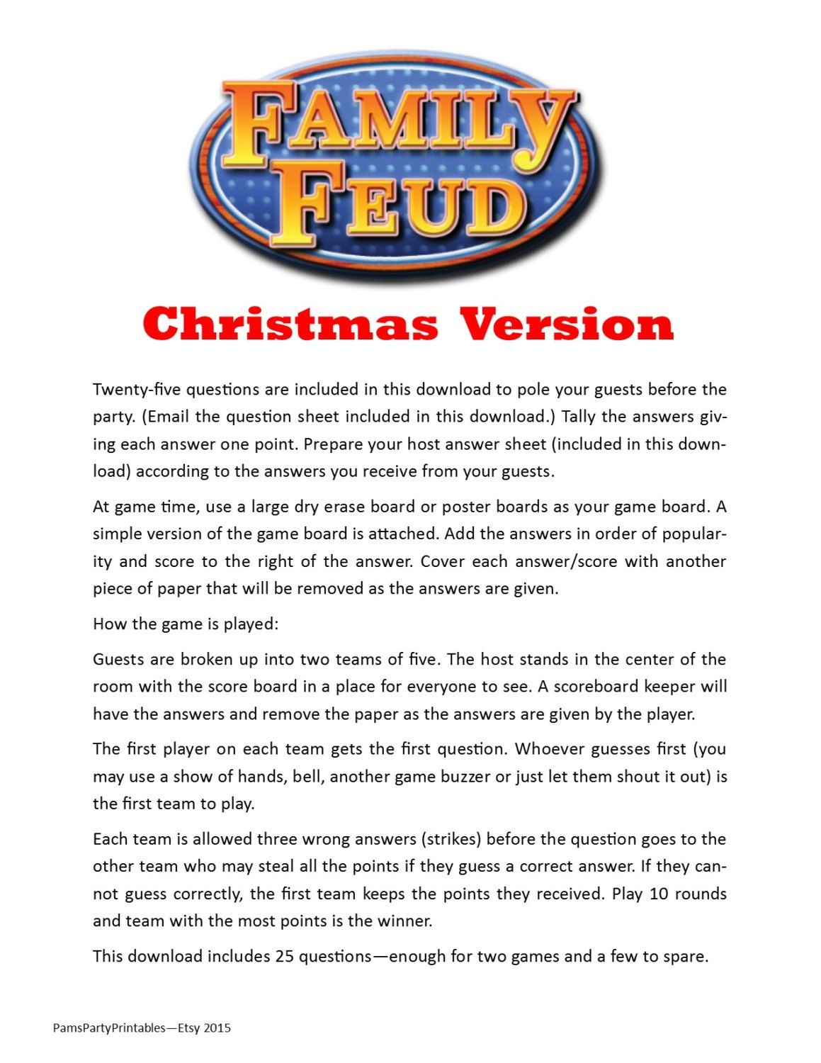 Christmas Family Feud - Printable Game - Christmas Family Game - Free Printable Christmas Games For Family Gatherings