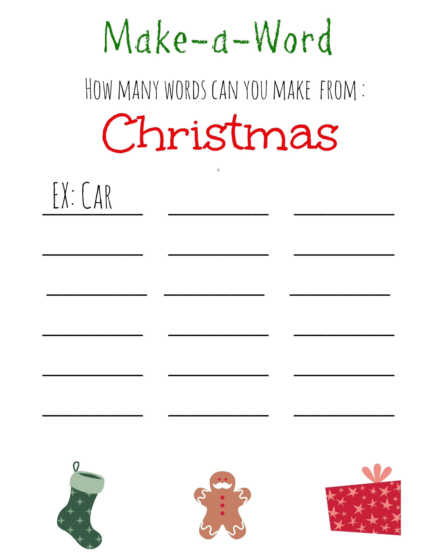 Christmas Games For Kids ~ Free Printable, Christmas Make A Word - Free Printable Word Games