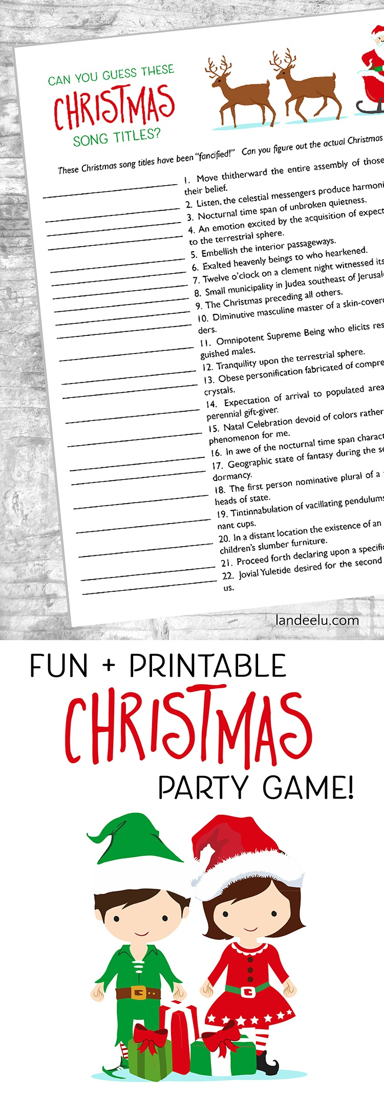 Christmas Games: Guess These Christmas Songs! - Landeelu - Free Printable Christmas Song Picture Game