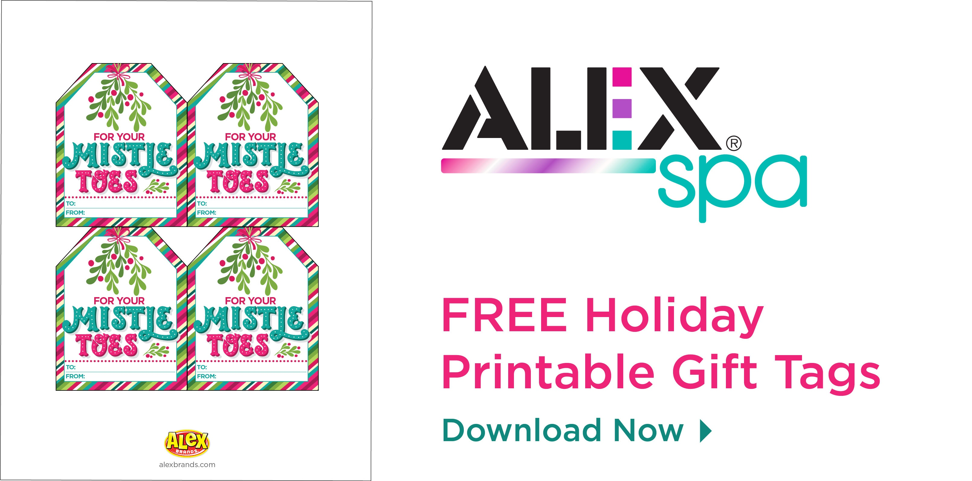 Christmas Printable Tag: Mistle Toes Spa Gift - Alexbrands - Free Printable Toe Tags