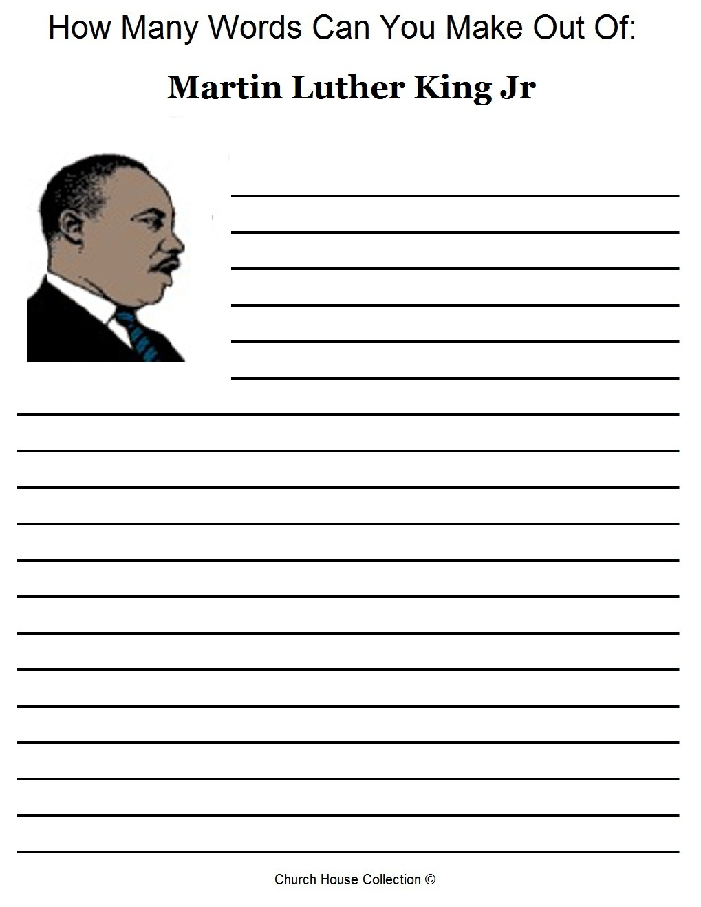Church House Collection Blog: Free Martin Luther King Jr Worksheets - Free Printable Martin Luther King Jr Worksheets