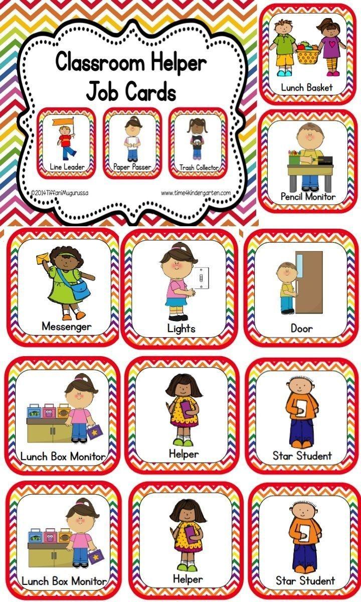 Classroom Helper And Job Cards Rainbow Chevron | Kinderland - Preschool Classroom Helper Labels Free Printable