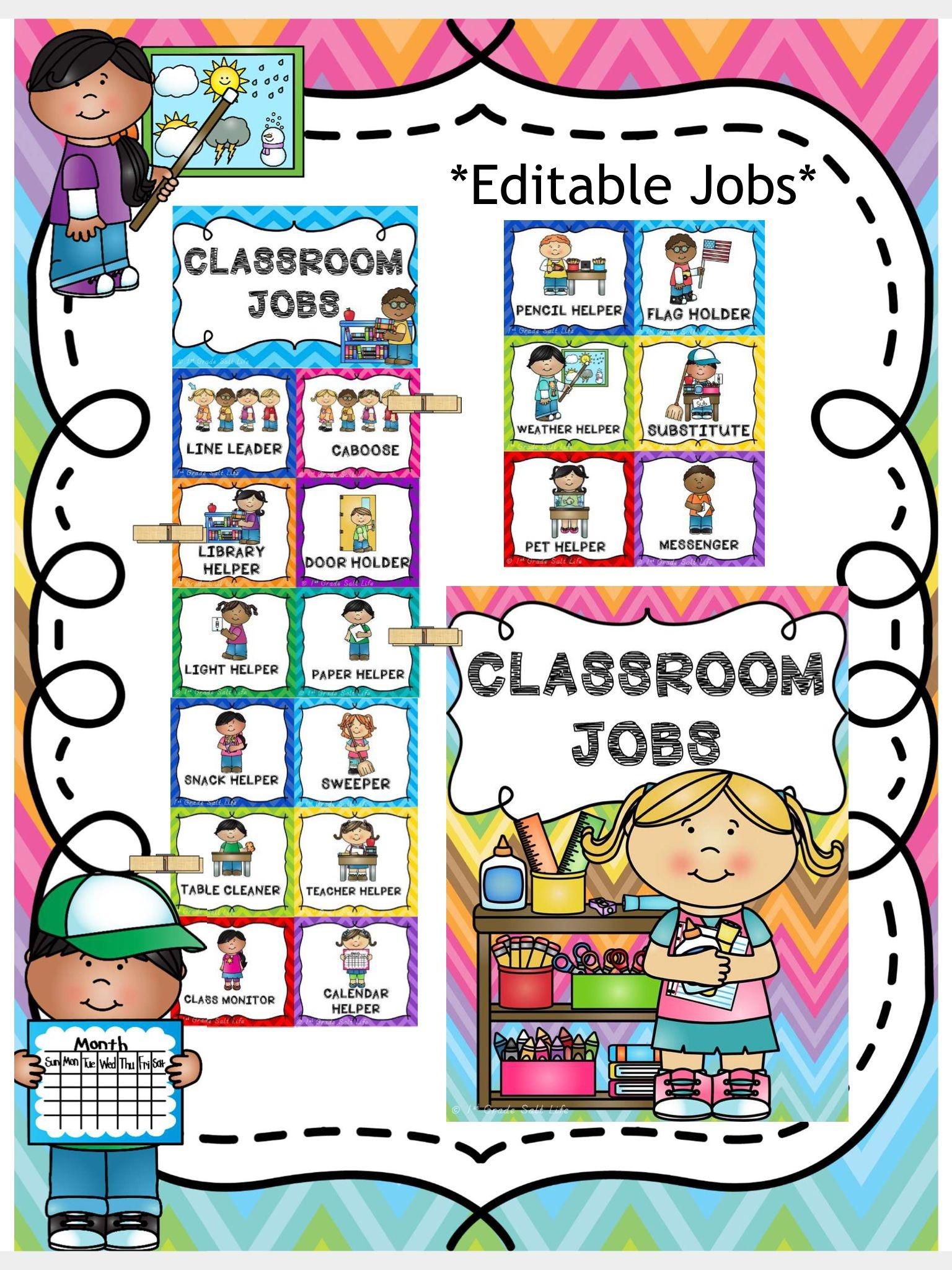 Classroom Jobs Clip Chart | Pre-K | Classroom Job Chart, Preschool - Preschool Classroom Helper Labels Free Printable