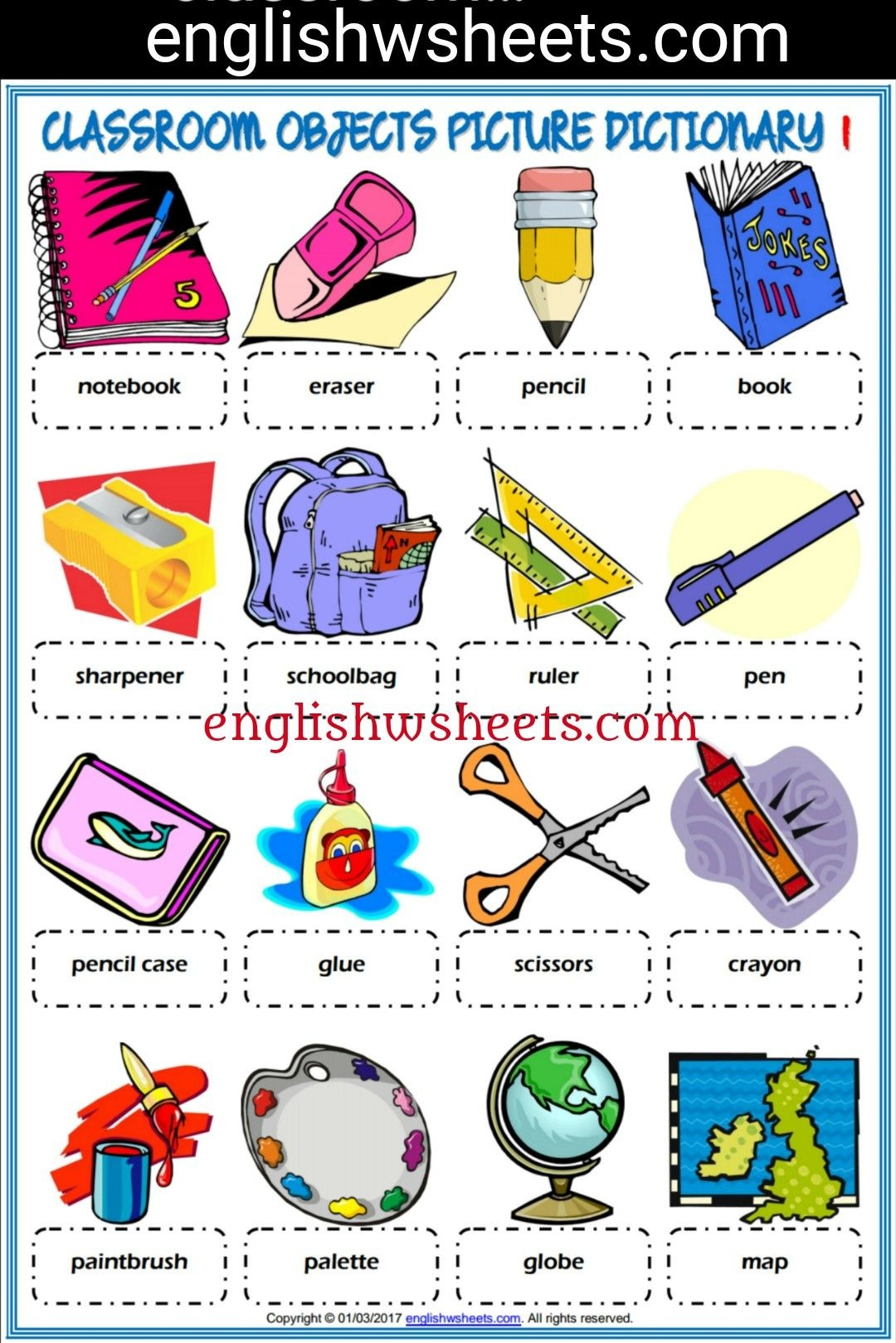Classroom Objects Esl Printable Picture Dictionaries For Kids - Free Printable Picture Dictionary For Kids