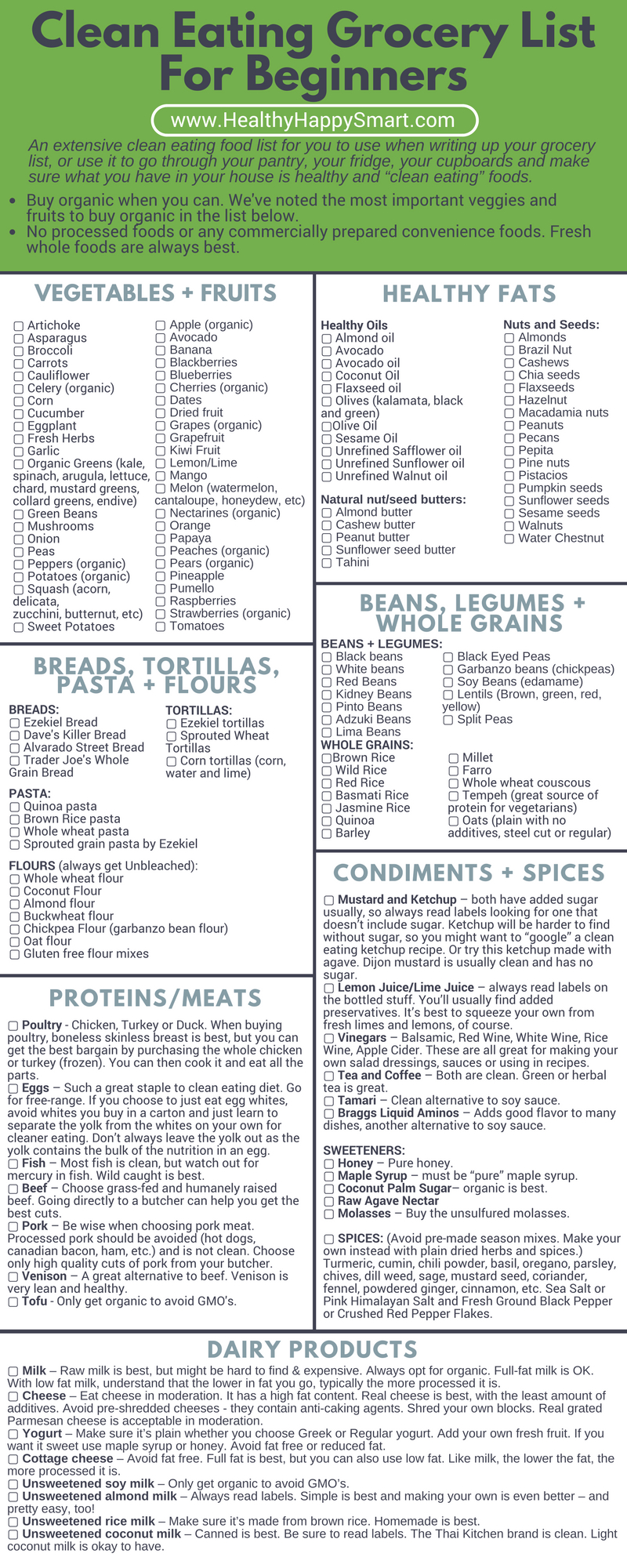 Clean Eating Grocery List • Healthy Food List • Healthy.happy.smart. - Gluten Free Food List Printable