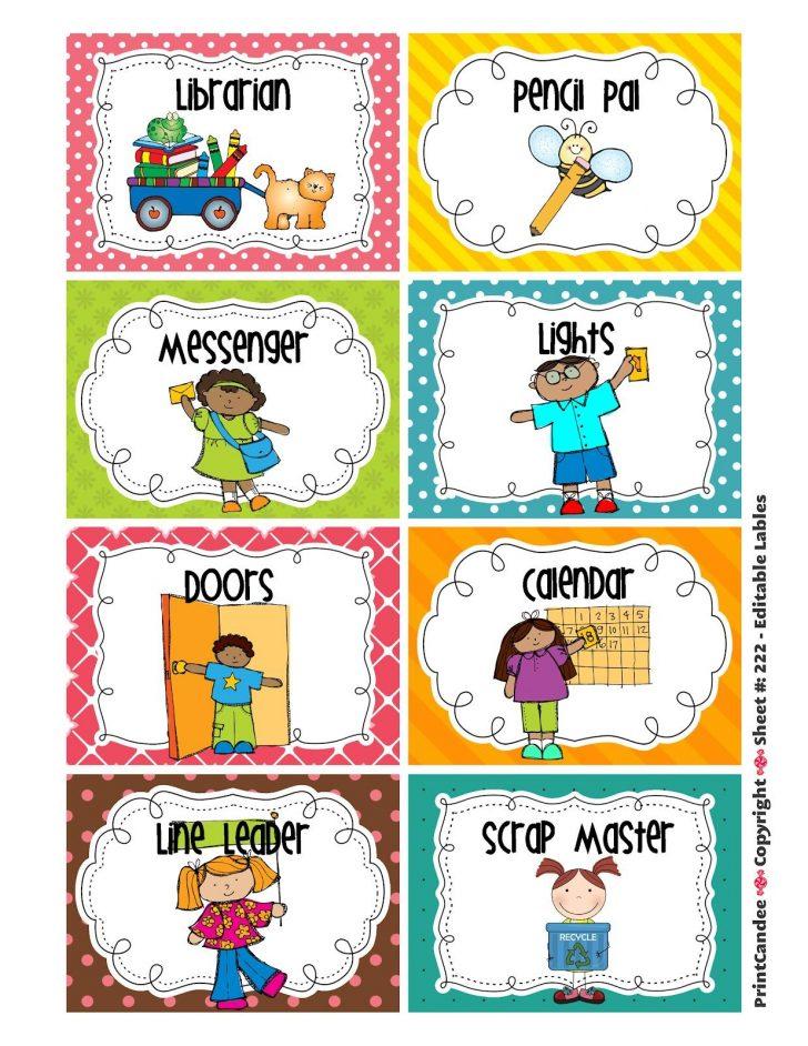 Preschool Classroom Helper Labels Free Printable