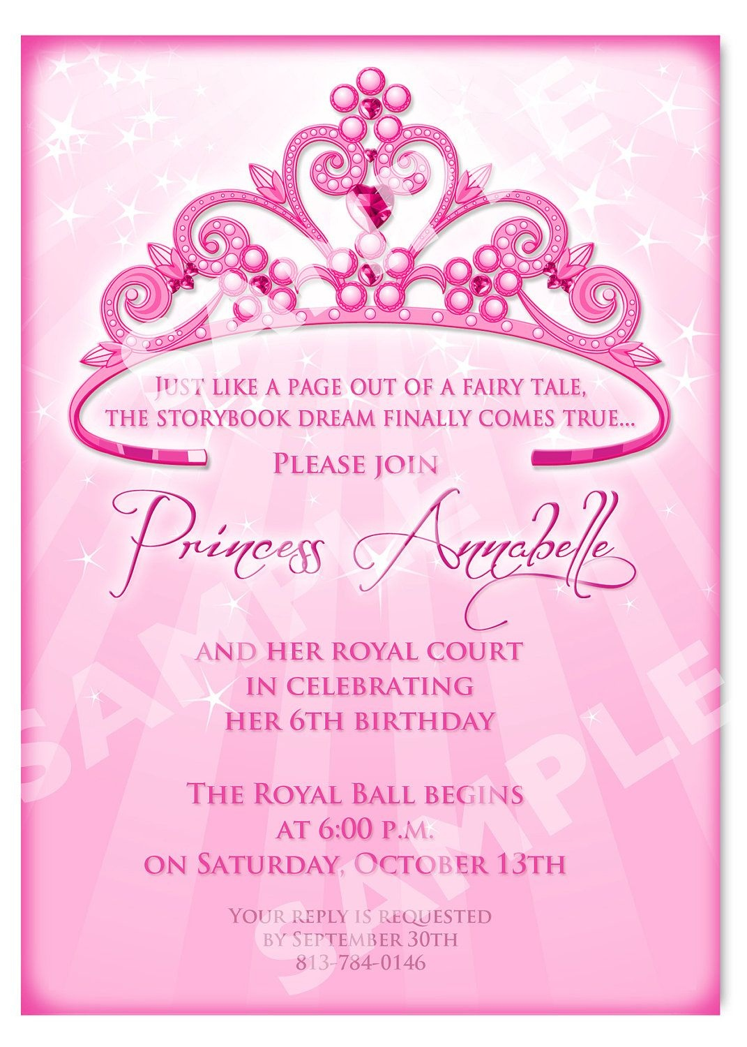 Click On The Free Printable Princess Party Invitation Template To - Free Printable Princess Invitation Cards